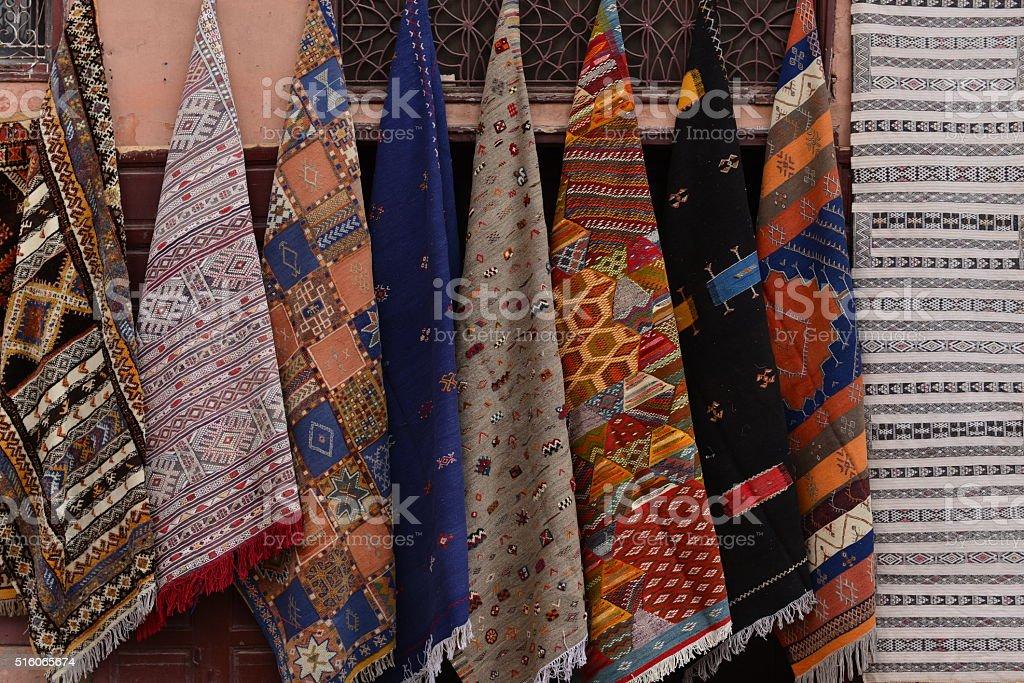 Carpets, Marrakech, Morocco, Africa. stock photo