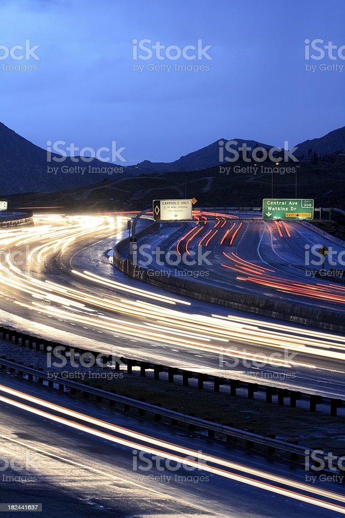 Carpool Freeway Lanes at Twilight Vertical royalty-free stock photo