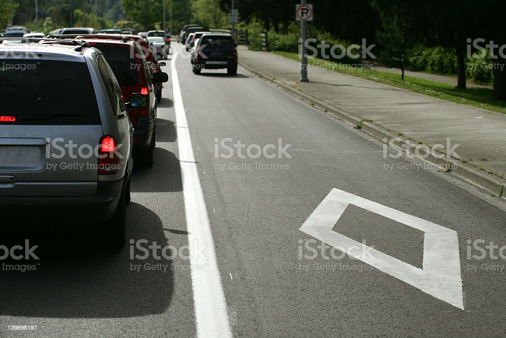 Carpool lane with diamond for driving stock photo
