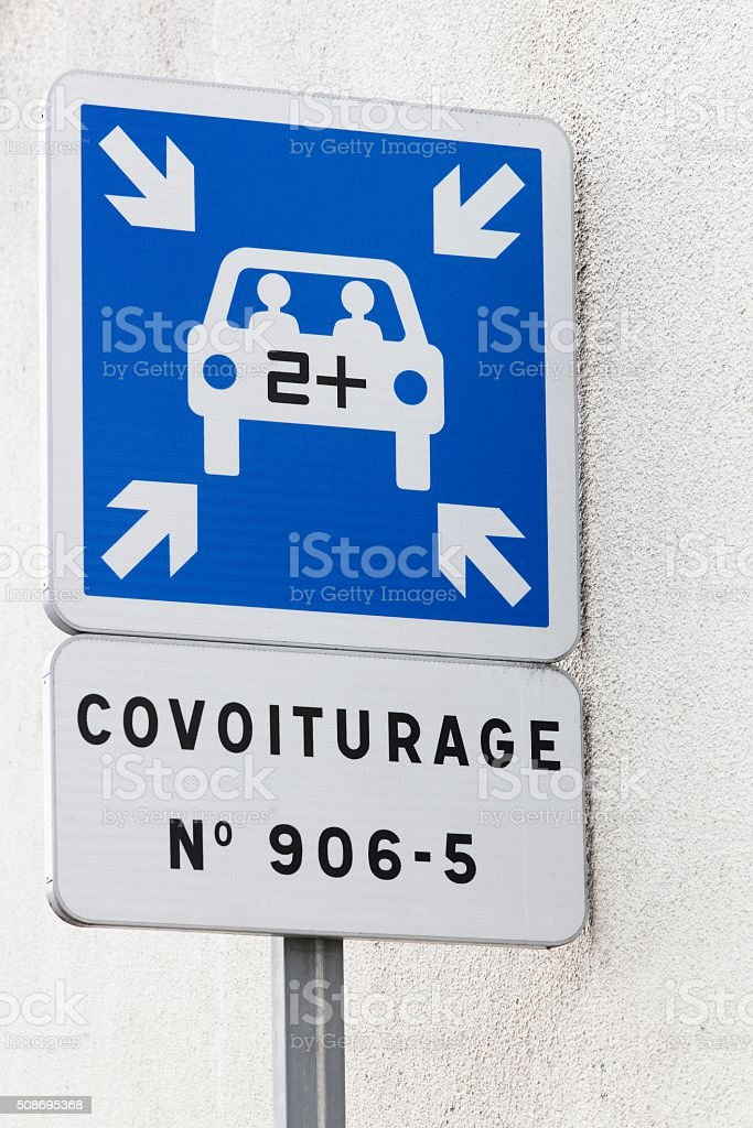 Carpool point panel in France stock photo