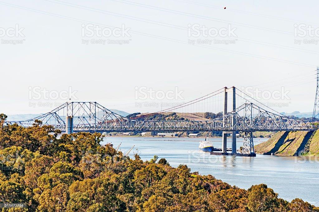 Carquinez Strait Bridges ship and views stock photo