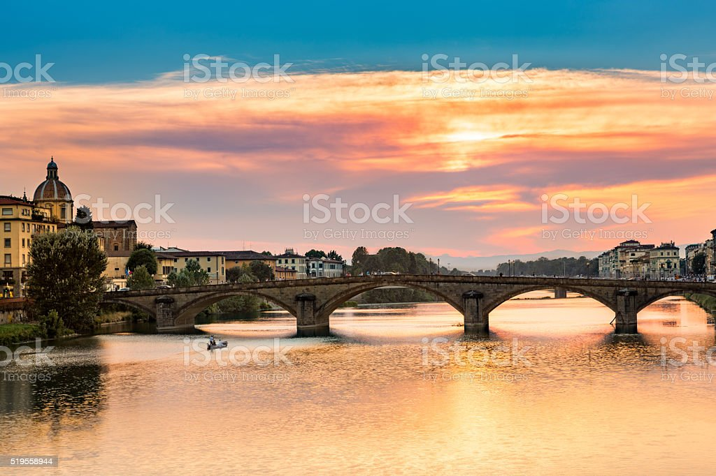 Ponte all Carraia at sunse stock photo