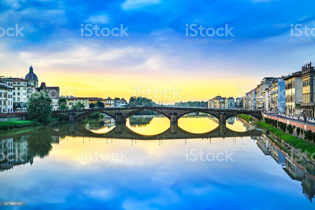 Carraia medieval Bridge on Arno river, sunset landscape. Florenc stock photo