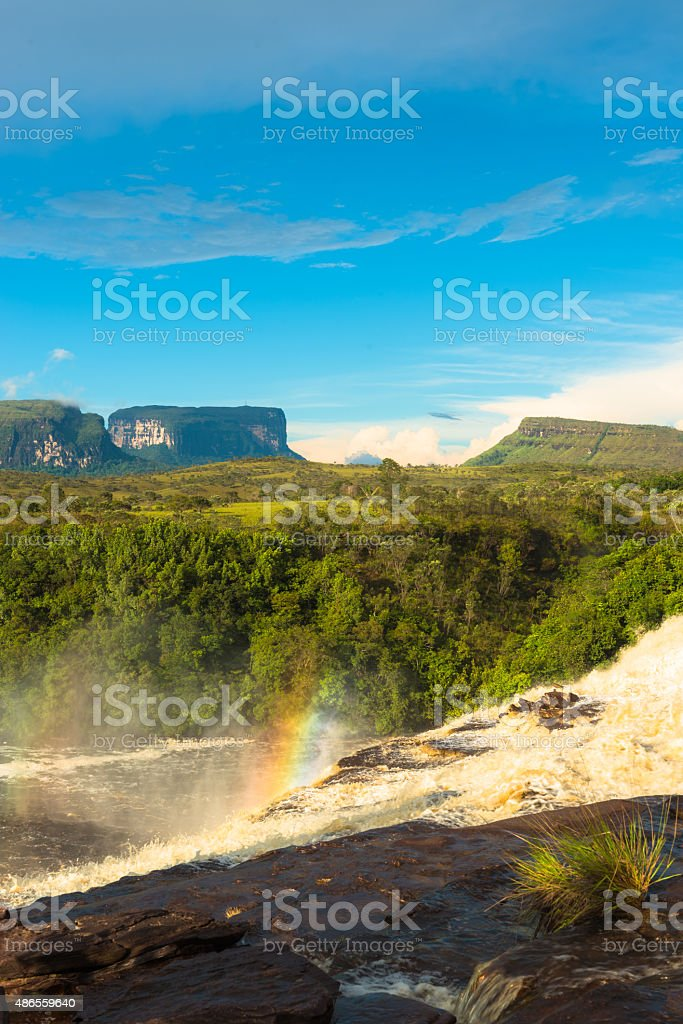 Carrao River with a rainbow stock photo