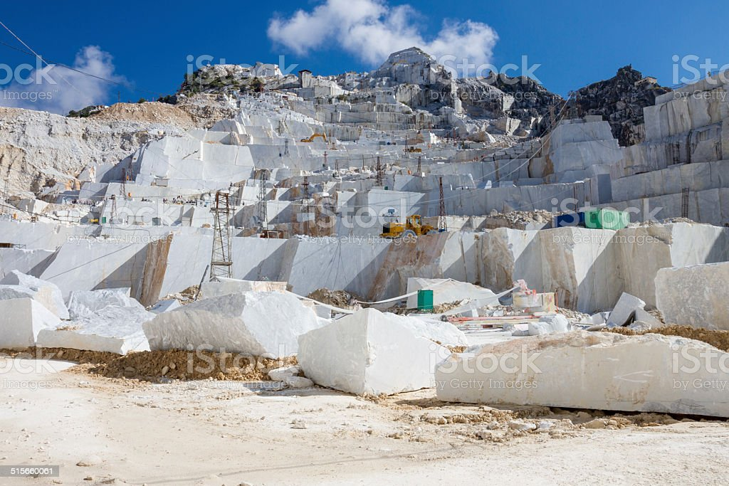 Carrara's marble quarry in Italy stock photo