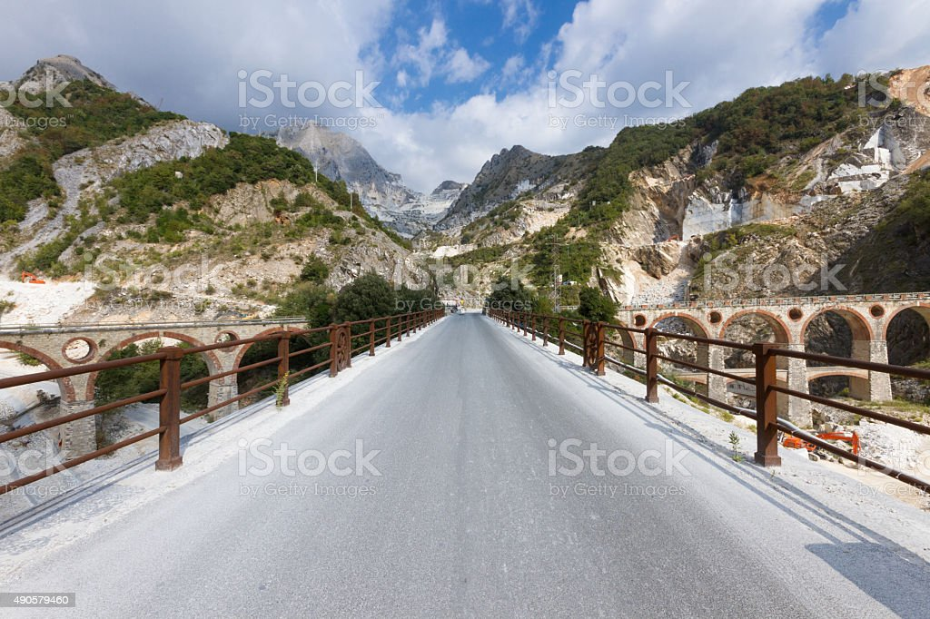 Carrara's marble quarry stock photo
