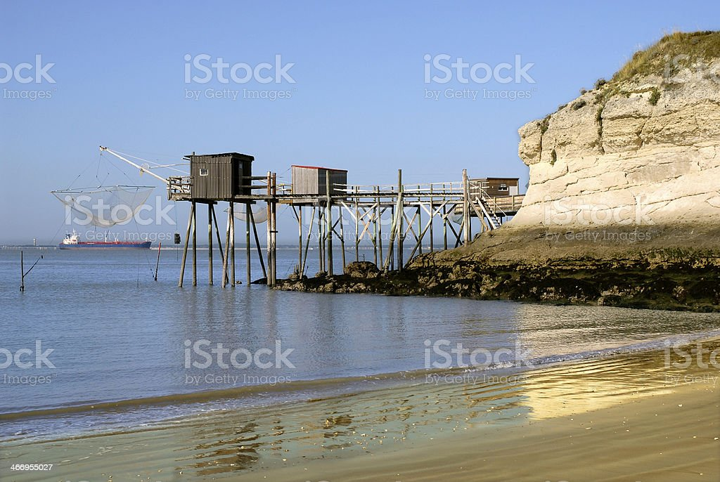 Carrelets at Saint Georges of Didonne in France stock photo