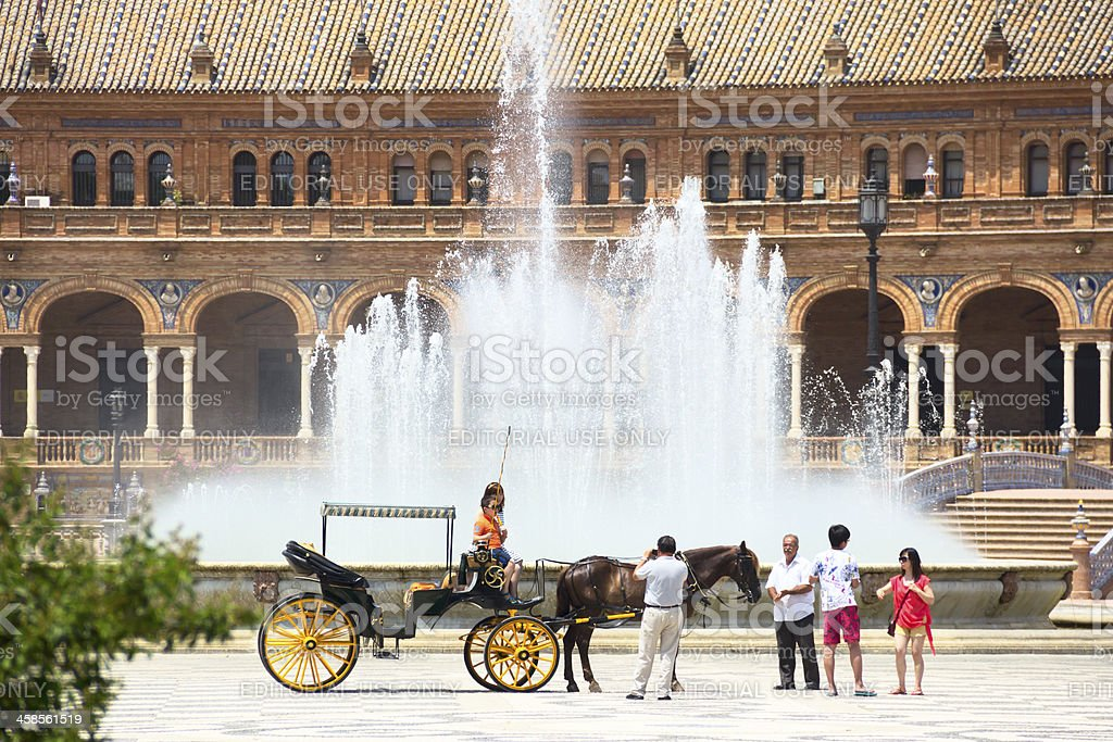 Carriage at the Plaza de España, Seville, Spain royalty-free stock photo