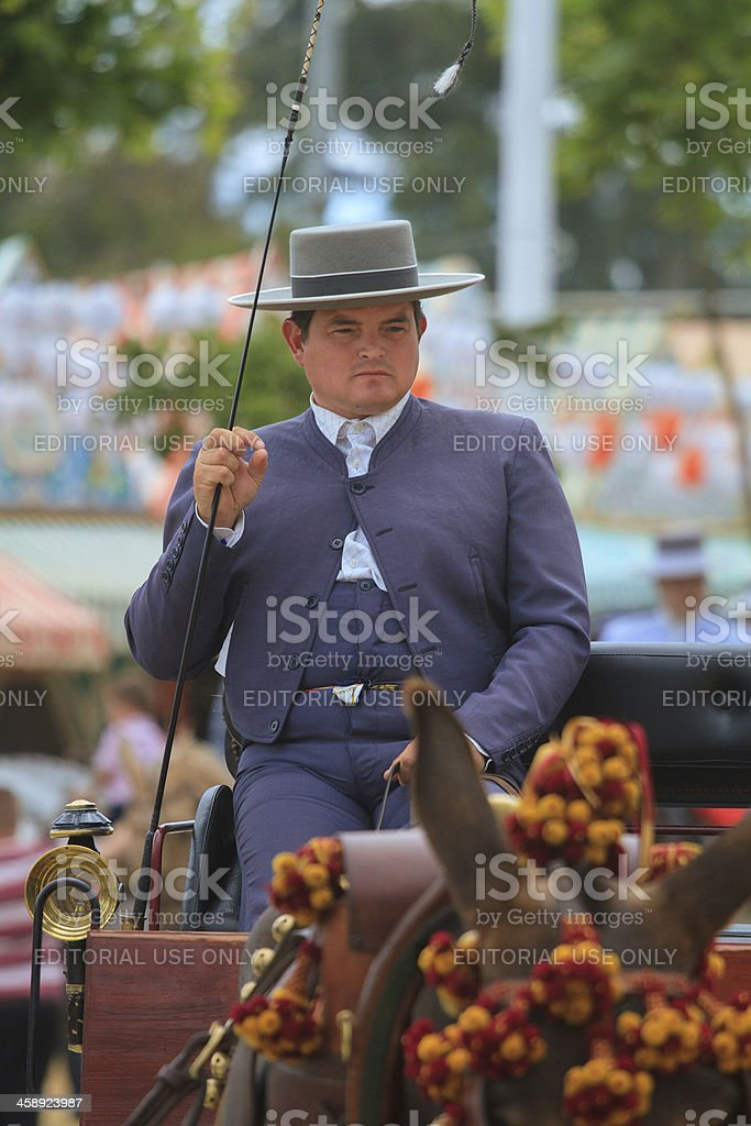 carriage conductor in the Seville April Fair stock photo
