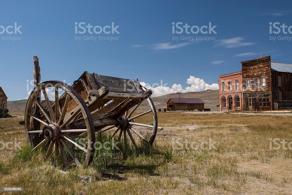 Carriage in Bodie ghost town, California, USA stock photo