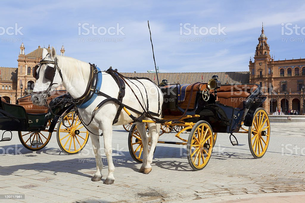 Carriage in front of Plaze de Espa?a, Seville royalty-free stock photo