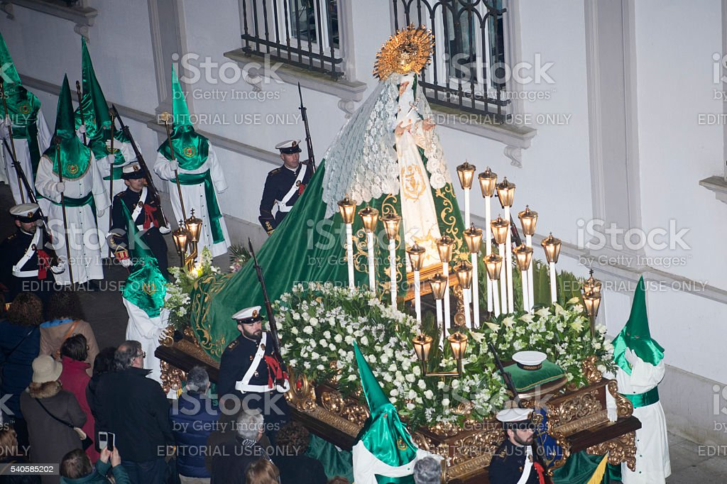 Carriage of Hope virgin, Holy Week parade. stock photo