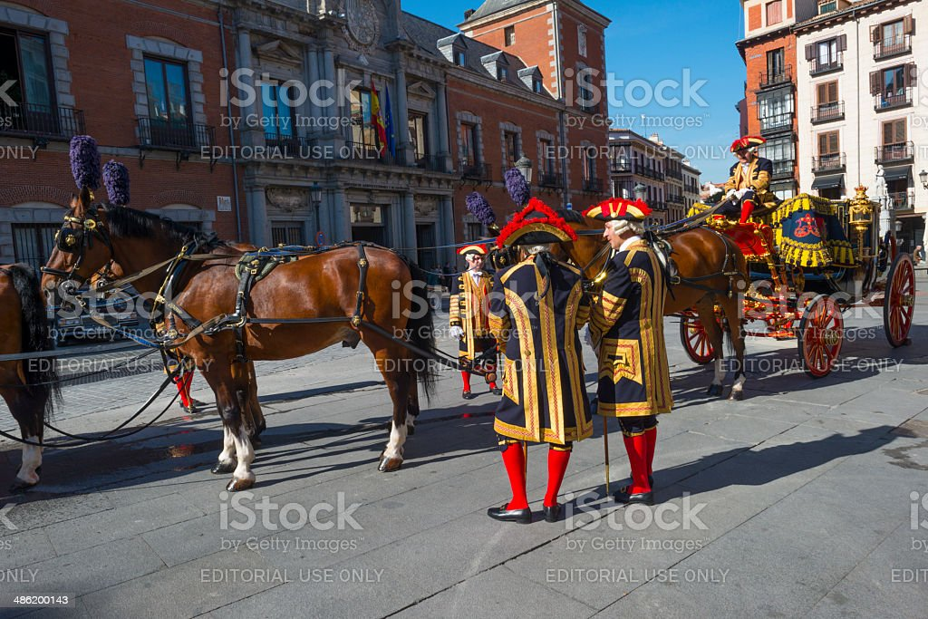 Carriage of the government of Spain waiting on a square stock photo
