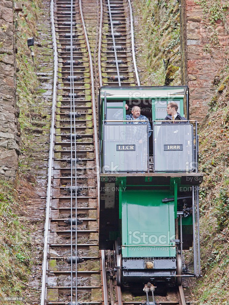 Carriage on the funicular railway between Lynton and Lynmouth UK stock photo