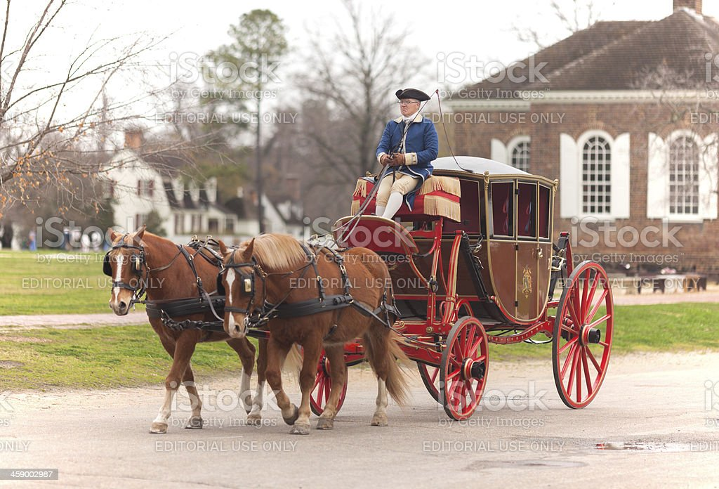 carriage ride in williamsburg virginia stock photo