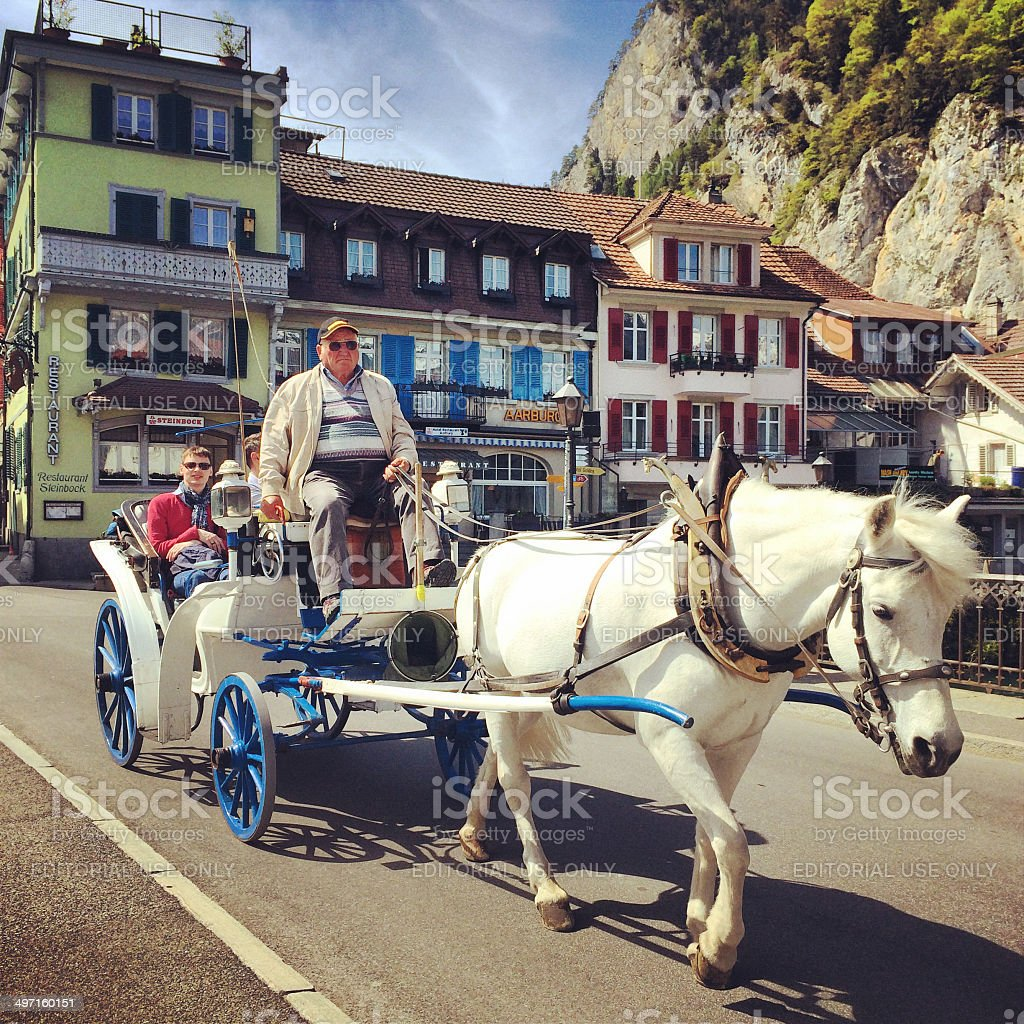 Carriage Tour for Tourists in Interlaken, Switzerland stock photo
