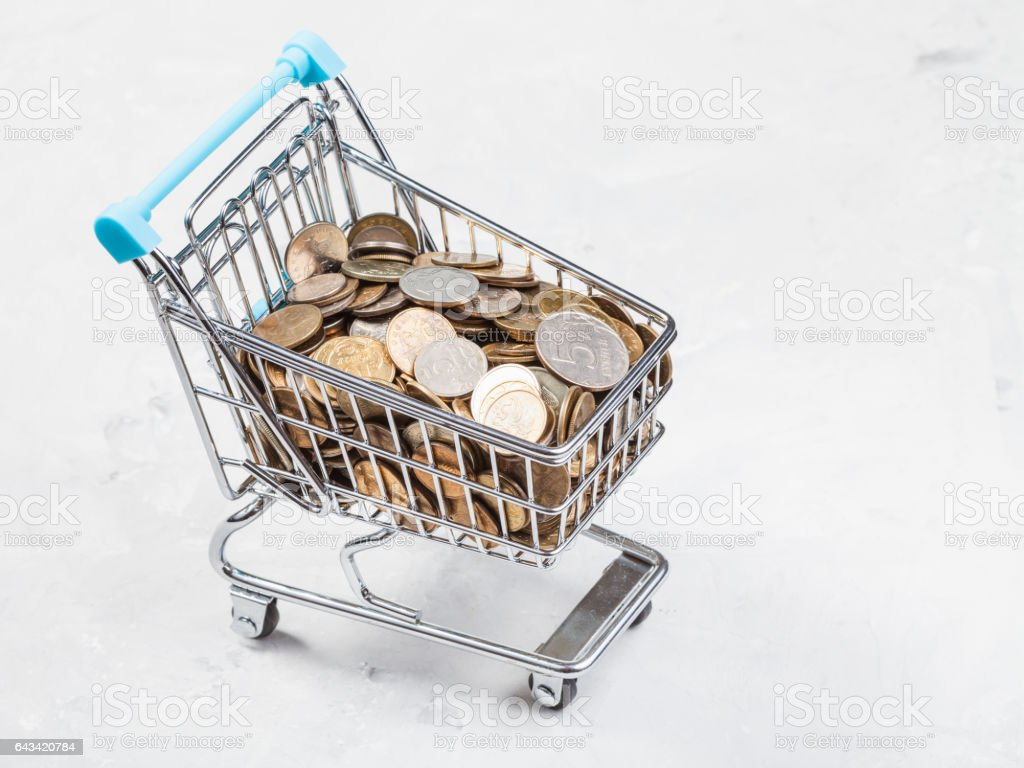 carriage with russian coins on concrete board stock photo
