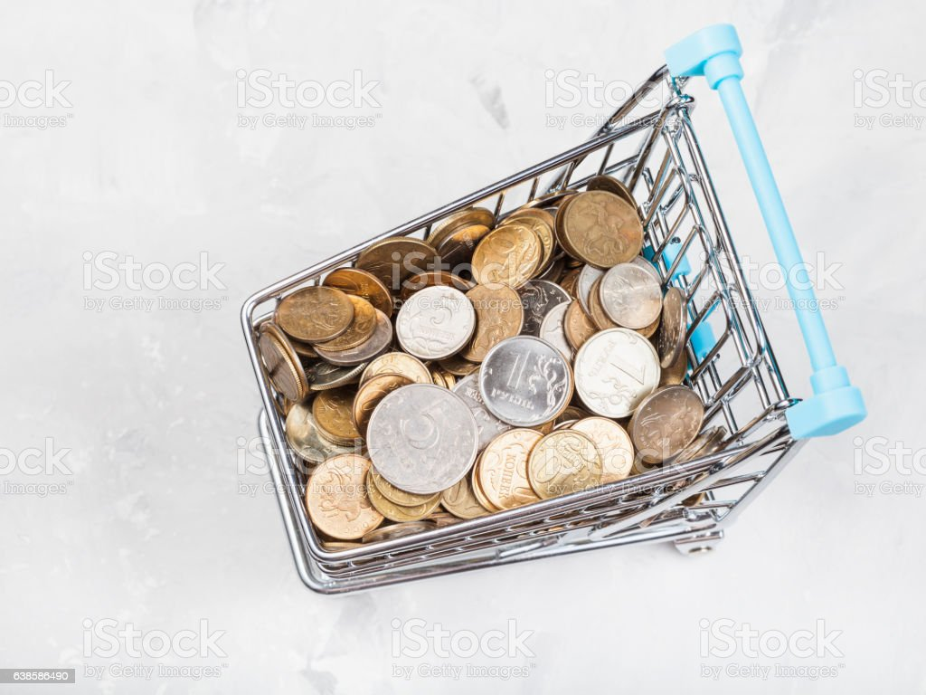 carriage with russian coins on concrete plate stock photo