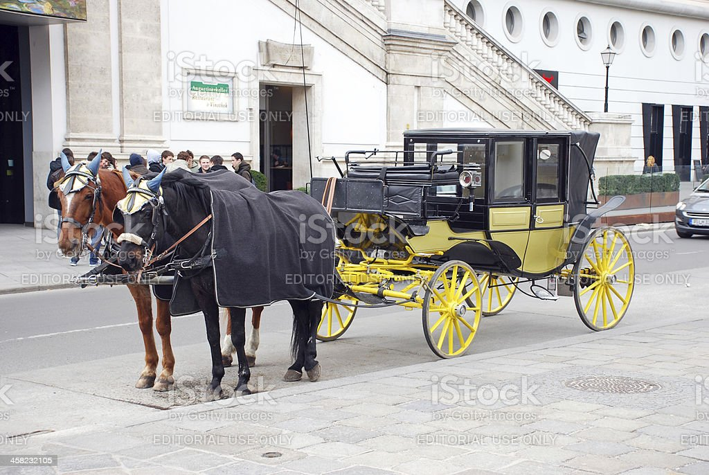 Carriage with two horses royalty-free stock photo