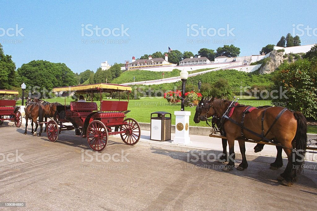 Carriages line up stock photo