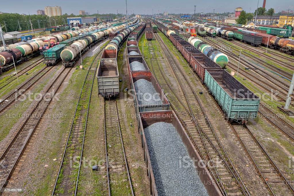 Carriages of freight trains on commercial railway, St. Petersburg, Russia. stock photo