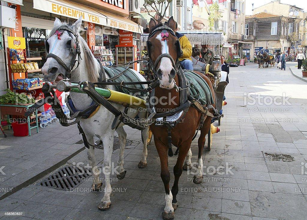 carriages on buyukada island stock photo