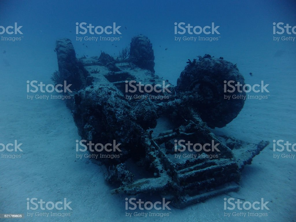 Carribean military wreck stock photo