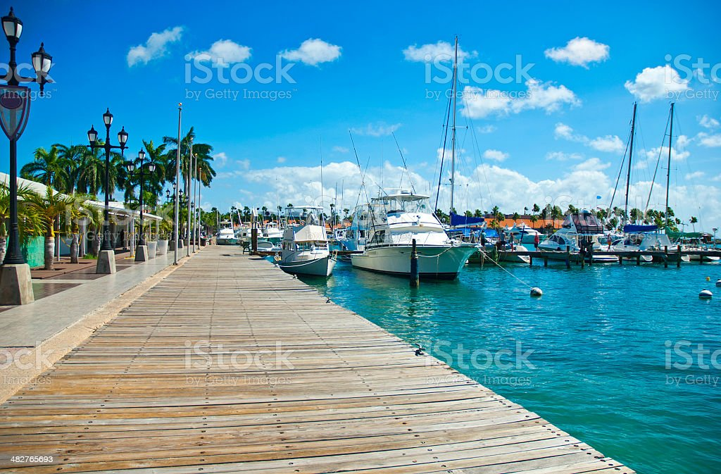 Carribean port stock photo