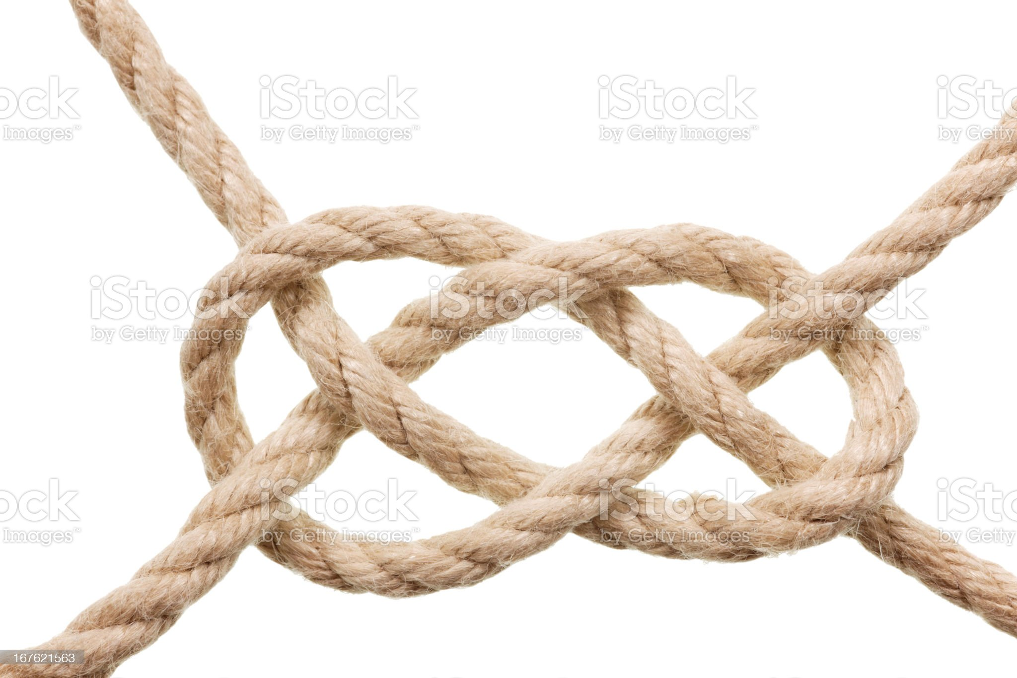 carrick bend (knot) isolated on white royalty-free stock photo