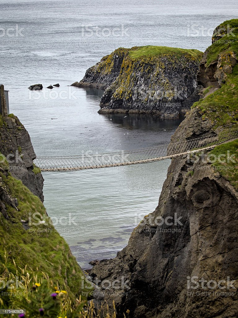Carrick-A-Rede rope bridge over water. stock photo