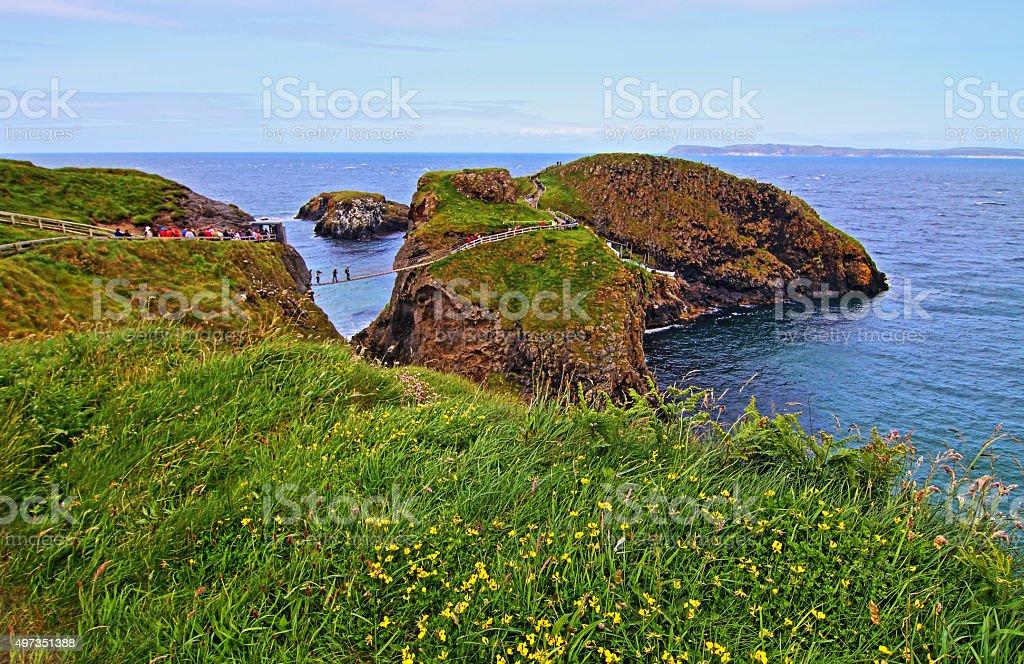 Carrick-a-Rede tiny Irish Island suspension rope bridge with flowers stock photo