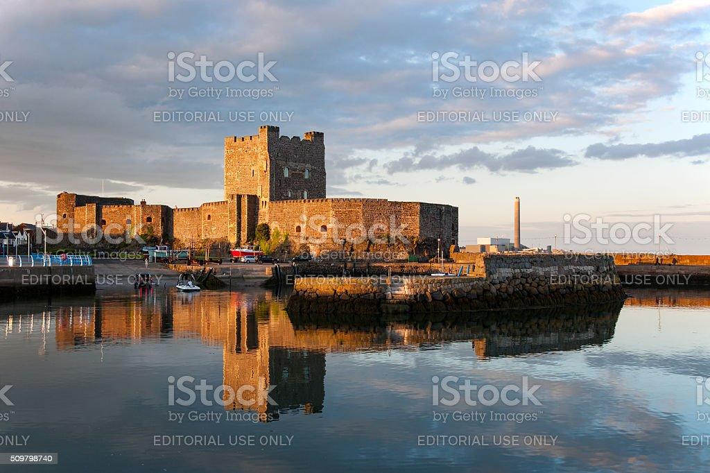 Carrickfergus Castle at sunset stock photo