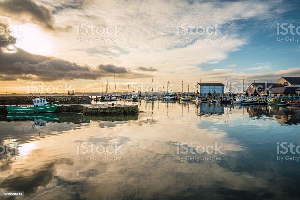 Carrickfergus Castle fishing village in Northern Ireland stock photo