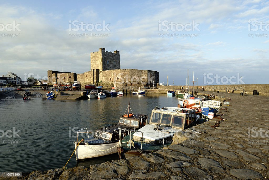 Carrickfergus Castle in evening sunlight stock photo