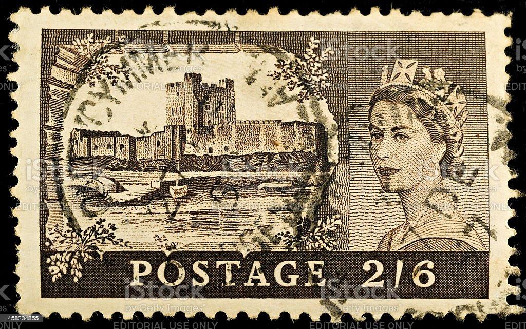 Carrickfergus Castle Postage Stamp stock photo