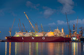 LPG carrier at a shipyard in Singapore at dusk
