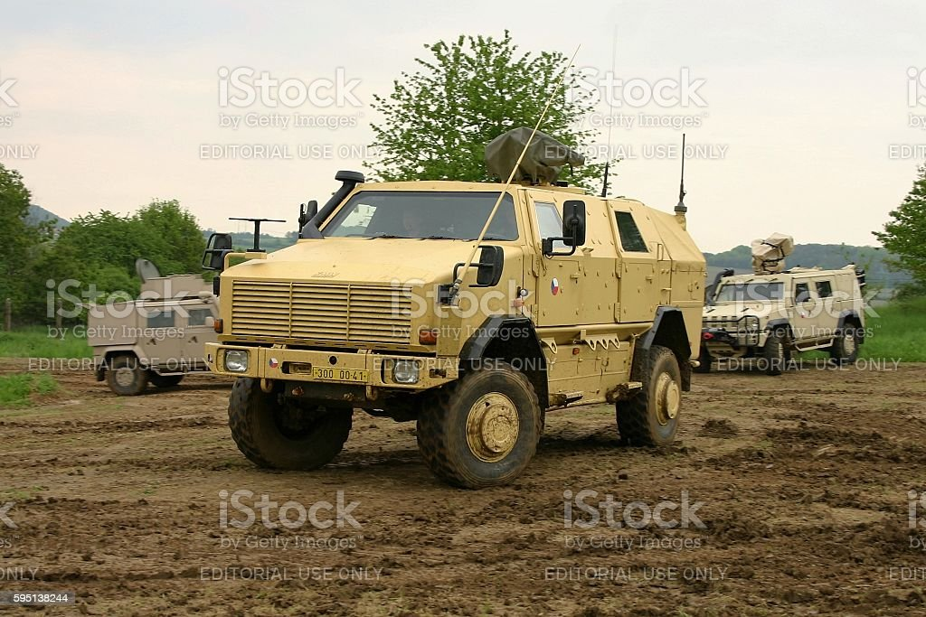 Carrier military vehicle KMW Dingo-2 on the unmade road stock photo