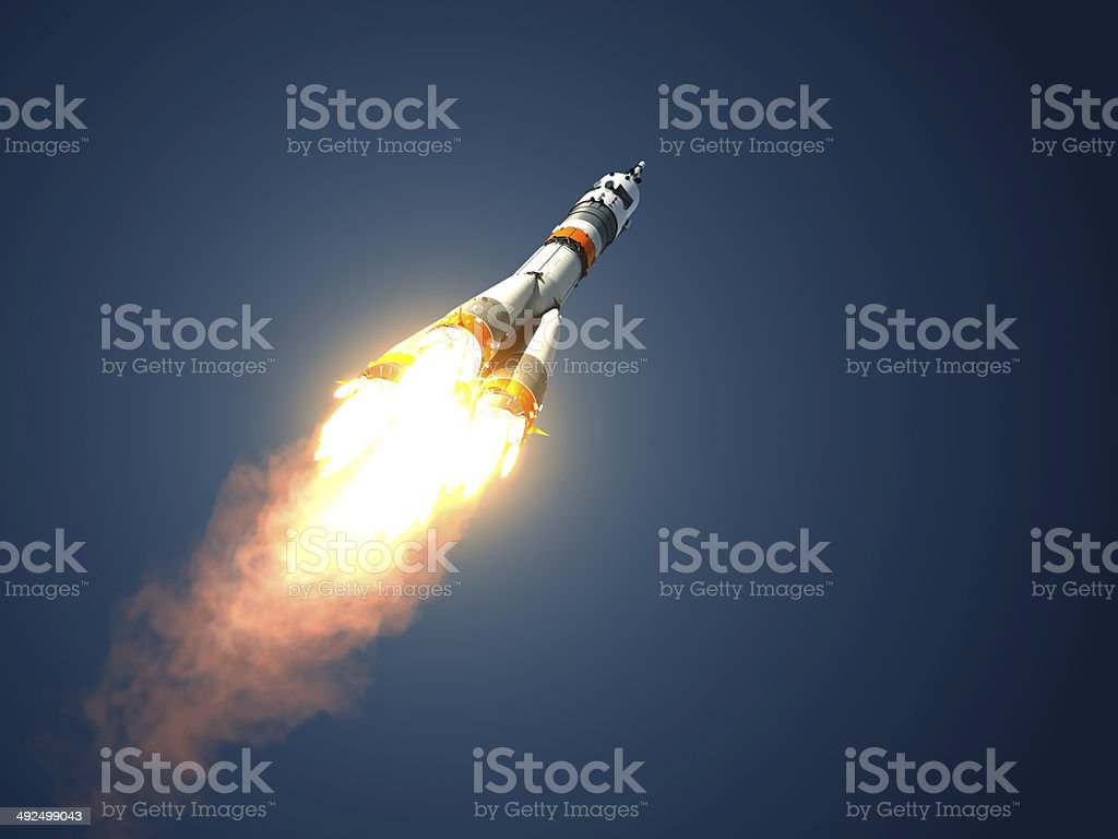 Carrier Rocket Soyuz-FG Takes Off stock photo