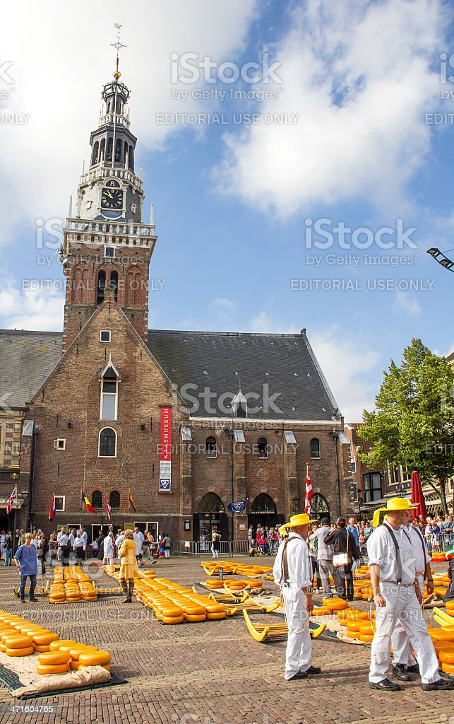 Carriers in the famous Alkmaar cheese market royalty-free stock photo