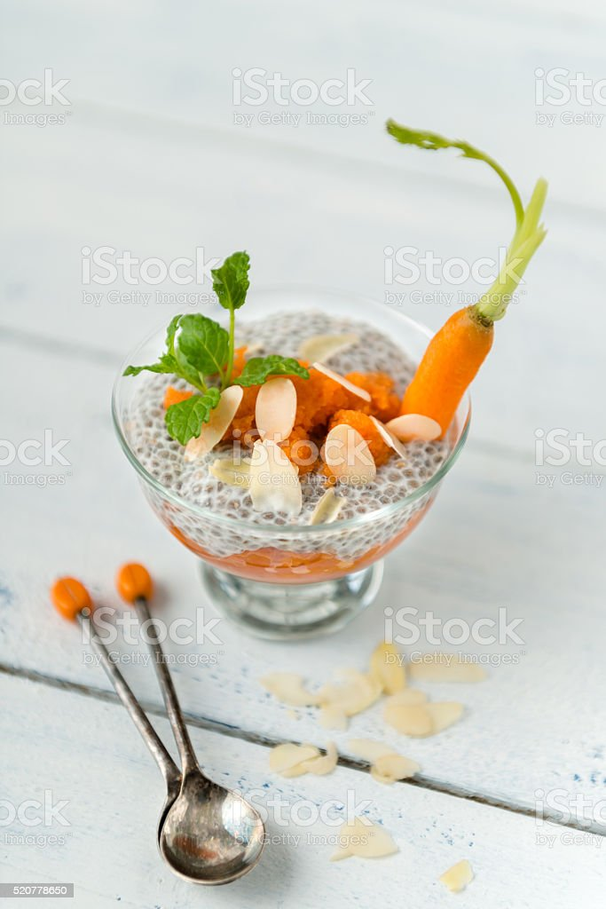 carrot and chia pudding stock photo