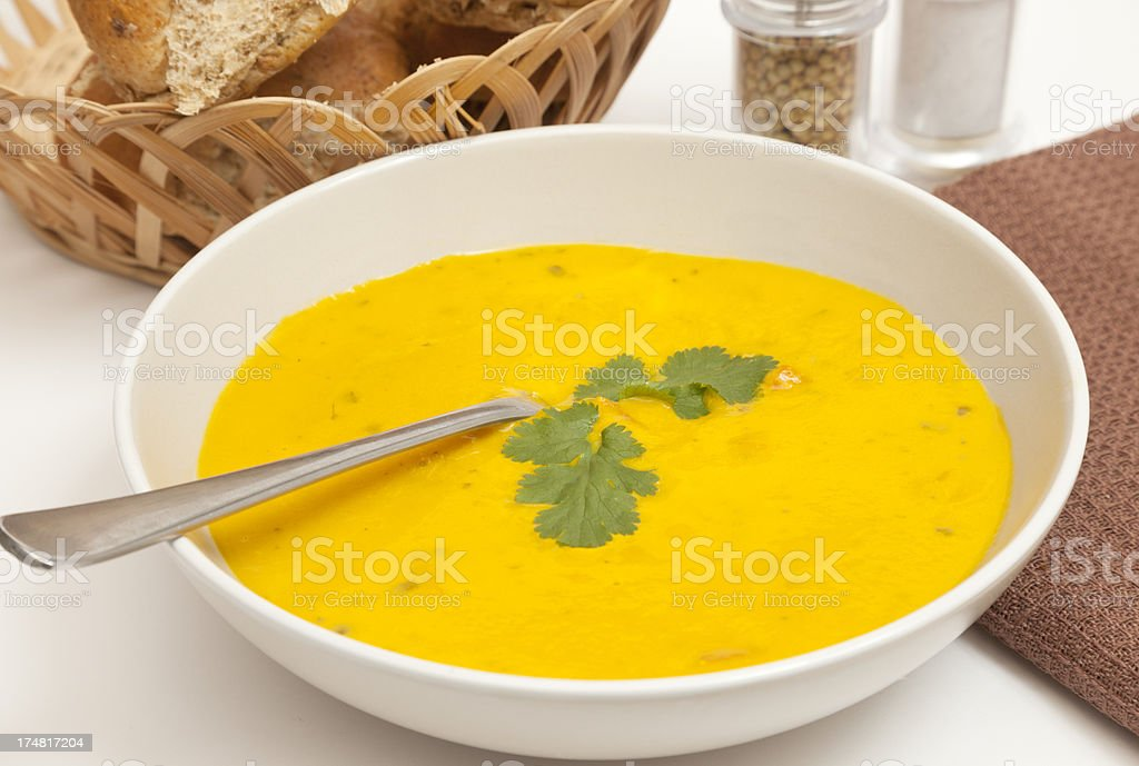 Carrot and coriander soup royalty-free stock photo