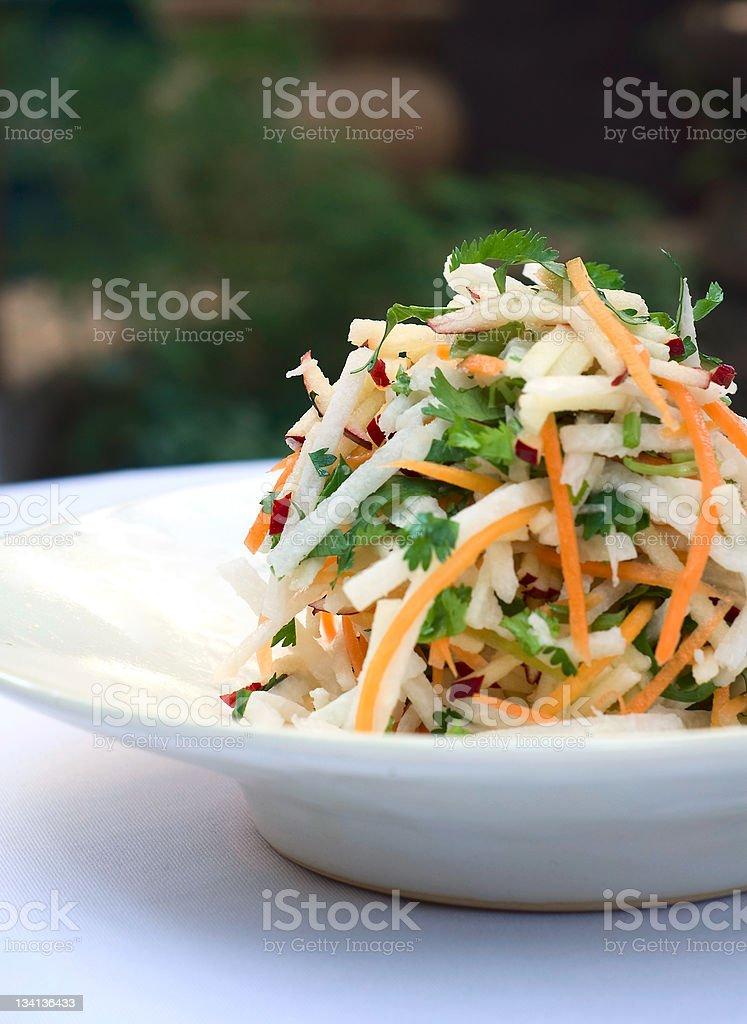 Carrot and jicama salad with cilantro stock photo