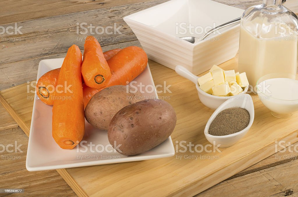 Carrot and potato soup royalty-free stock photo