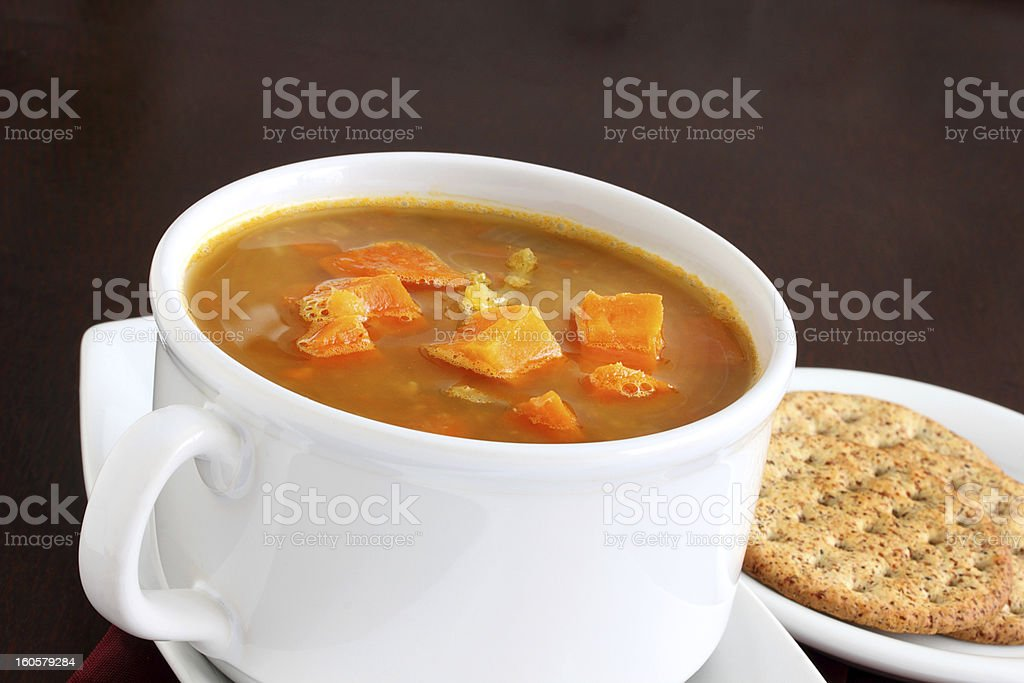 Carrot and red lentil soup royalty-free stock photo