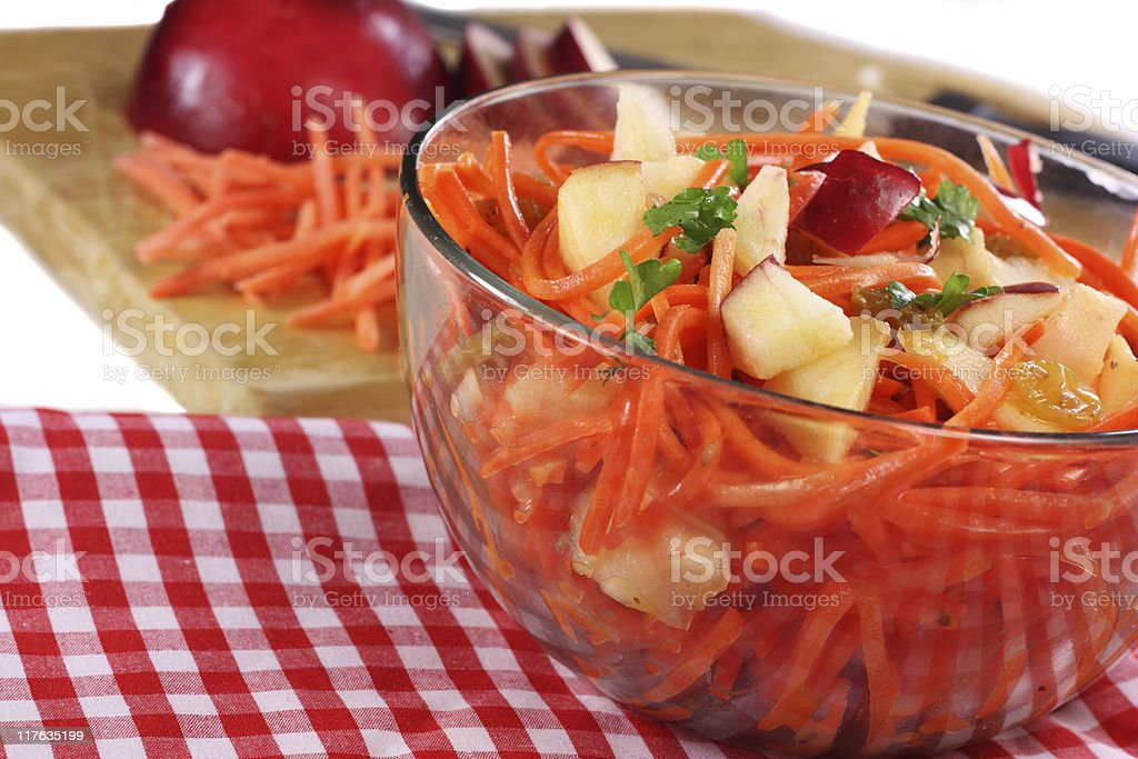 Carrot Apple and Raisin salad stock photo