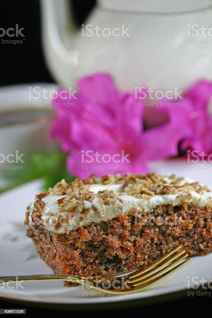 Carrot Cake Closeup With Cup of Tea stock photo