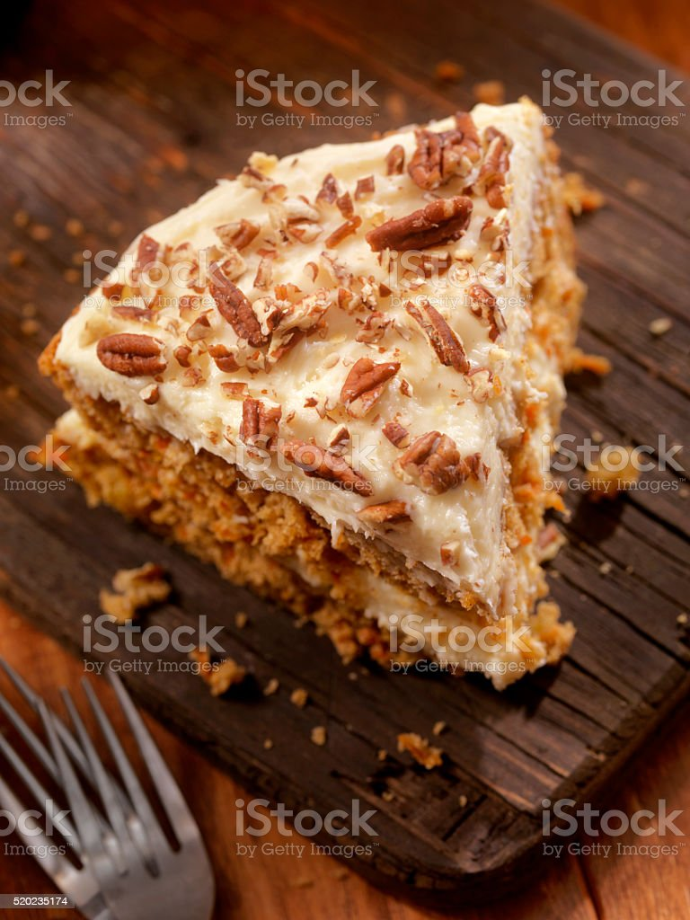Carrot Cake with Cream Cheese Icing stock photo