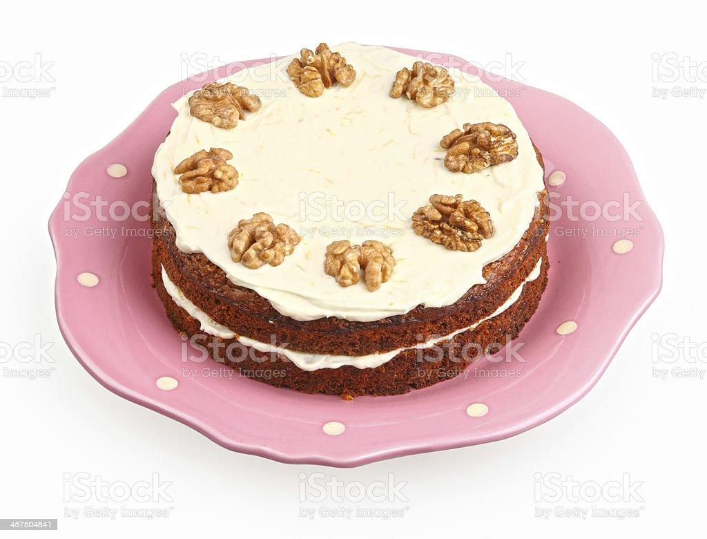 carrot cake with cream cheese stock photo