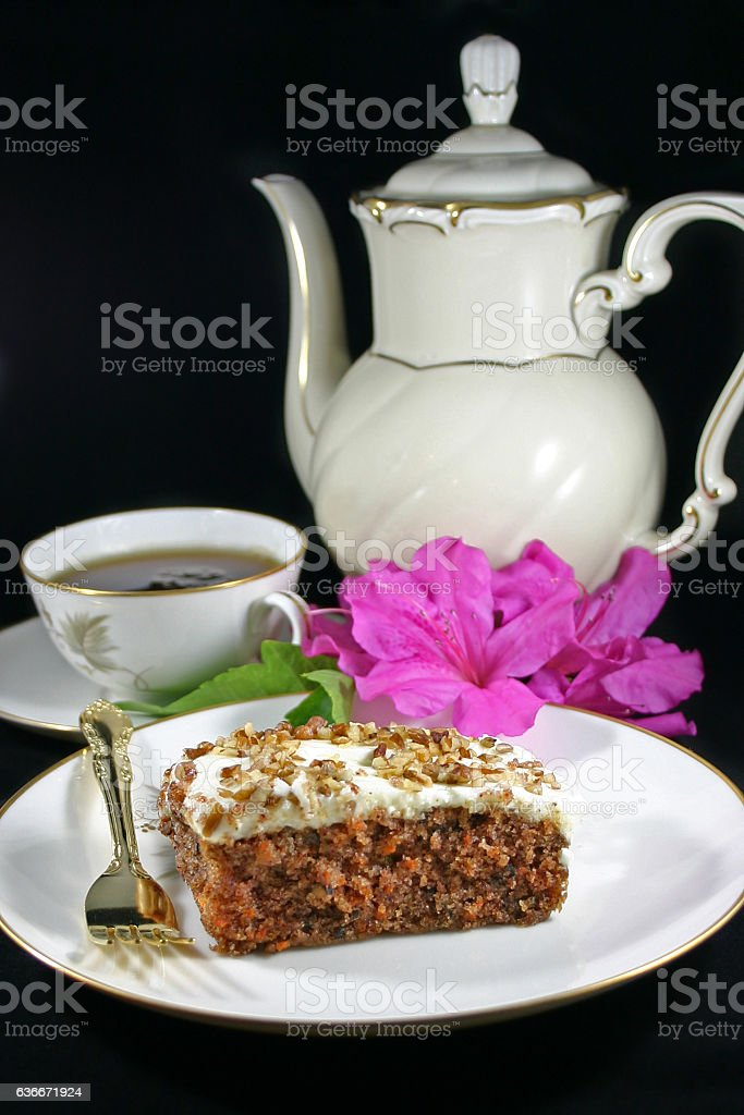 Carrot Cake with Cup of Tea stock photo