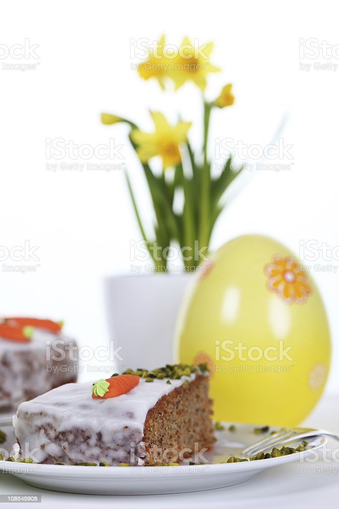 Carrot Cake with Easter Decor royalty-free stock photo